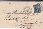 1888 - SAGE - PERFORES V.D (VERLEY DELCROIX) Sur LETTRE De LILLE (NORD) Pour FUMEL - - France