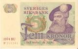 BILLETE DE SUECIA DE 5 CORONAS DEL AÑO 1974 CALIDAD EBC+  (BANKNOTE) - Suecia
