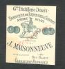 (X)CARTE DE VISITE / J . MAISONNEUVE FABRIQUE DE LIQUEURS ET SIROPS / A CLERMONT / FERRAND .      . - Visiting Cards