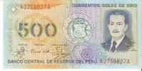 BILLETE DE PERU DE 500 SOLES DE ORO DEL AÑO 1982 (BANKNOTE) - Perú
