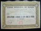 """Action""""Casino Municipal De Bandol""""1930 Bon état,avec Tous Les Coupons. - Casino"""
