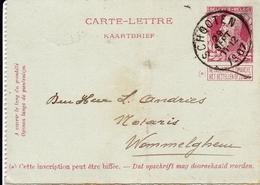 Belgique Entier Postal Schooten 1907 Wommelghem - Letter-Cards