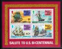 British Virgin Islands MNH Scott #312a Souvenir Sheet Of 4 Sailing Ships - USA Bicentennial - Iles Vièrges Britanniques