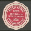 Deutsches Reich Alte Siegelmarke Briefmarkenhaus  Werner Franke Berlin Metropolpassage - Allemagne