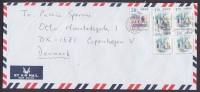 Hong Kong Airmail Par Avion Mult Franked 2000 Prevent Fire Slogan Cover To Denmark 4-Block Victoria Harbour - 1997-... Sonderverwaltungszone Der China