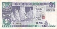 BILLETE DE SINGAPORE DE $1   (BANKNOTE) BARCO-SHIP - Singapur