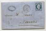 "YT 14A Sur Lettre "" Napoléon III  Type I 20c. Bleu "" 1854 Ambulant BPI° - 1863-1870 Napoleon III With Laurels"