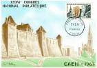 CARTE MAXIMUM  1963 CONGRES NATIONAL PHILATELIQUE   # CAEN # FDC# BASSE NORMANDIE # CALVADOS # - Maximum Cards