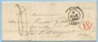 1845 TRES BELLE LETTRE COMPLETE DE LYON 5.11.45 A LE DONJON  1^ DISTRIBUTION ROUGE (DCM106) - 1801-1848: Precursori XIX