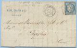 1871 TRES BELLE LETTRE C. 25 OBLITERE AMB. LE HAVRE A PARIS 2° A BASTIA (CORSE) AVEC AMB. LYON A MARSEILLE (DCN103) - 1849-1876: Periodo Classico