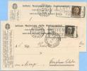 1936 IMPERIALE C. 30 VARIETÀ COLORI DIFFERENTI STESSO PERIODO D' USO SU 2 CARTOLINE PUBBLICI...VEDI DESCRIZIONE (DC4034) - Storia Postale