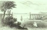 "1846 Print Of ""The Suspension Bridge, Near Bangor, Caernarvonshire"" Probably By 'J Archer'. - Prints & Engravings"