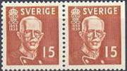 ZWEDEN 1938 Gustaf V 80 Jaar 15õre Bruin Vier+driezijdig Getand PF-MNH - Neufs