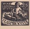 Child Playing With Toy Train 'Exlibris', Vladimir Kotek, 10-20s - Games & Toys