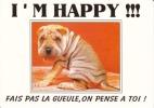 CPM CHIEN SHARPEI I' M HAPPY Fais Pas La Gueule On Pense à Toi Humour Si Bandes Jaunes Dues Au Scan - Chiens