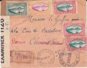 GUADELOUPE - 1941 - ENVELOPPE RECOMMANDEE De CAPESTERRE Pour CLERMONT PUIS PARIS Avec 2 CENSURES US+ COMMISSION B - Marcophilie (Lettres)