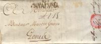 Prefilatelia Año 1791 Carta De Madrid A Genova Marca B Cataluña, Escrito Porteo L1.18 - ...-1850 Vorphilatelie