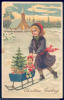 179445-Christmas, PFB No 11210, Girl Pushing Sleigh With Toys Doll & Small Christmas Tree, Embossed Litho - Other