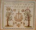 Abécédaire Et Tapisserie à Motifs Religieux Et à Tous Petits Points Ouvrage De Dame Daté 1 Mai 1851 Et Signé TBE - Tapis & Tapisserie