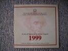 COPERTINA DELLA SERIE MONETE DIVISIONALI DELLA REPUBBLICA ITALIANA DEL 1999 - SOLO COPERTINA NON MONETE - - Materiale