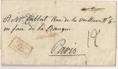 Spain 1828(?)  Outer Letter To PARIS And Returned?, Red Boxed Cancel ESPAGNE/PAR/OLORON - ...-1850 Vorphilatelie