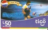 TARJETA DE HONDURAS DE TIGO DE PEPSI-COLA DE LIONEL MESSI -ARGENTINA (FUTBOL-FOOTBALL) - Honduras