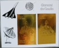 SUEDE De GAULLE 1 BLOC DE LUXE OR Avec 1 Timbre Dentelé + 1 NON DENTELE ( Theme Secondaire Cosmos, Concorde)