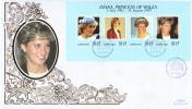 Barbados FDC Scott #950 Sheet Of 4 Diana Princess Of Wales - Barbades (1966-...)