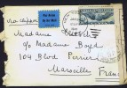 1941 Air Mail Letter To France Sc C24  French Censor Tape From Marseille  WK-2 - Air Mail