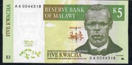 MALAWI  P36a  5  KWACHA  1997  Serie #  AA 0044317    UNC. - Malawi