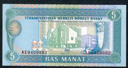 TURKMENISTAN  P2  5   MANAT    1993    UNC. - Turkménistan