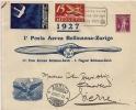 Aviation - Poste Aérienne Bellinzone-Zürich Août 1927 - Erst- U. Sonderflugbriefe