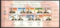 Canada 1998 N° 1546 / 55 ** Premiers Ministres, Robarts, Ontario, Lesage, Québec, McNair, Douglas, Saskatchewan, Flags - 1952-.... Règne D'Elizabeth II