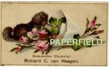 """Chromo """"Demandez Le Chocolat Richard C. Van Haagen"""" - Petit Chien Et Bouquet De Roses - Altri"""