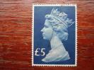 Great Britain ELIZABETH II 1977 HIGH VALUE FIVE POUNDS  USED Salmon & Chalky-blue.. - 1952-.... (Elizabeth II)