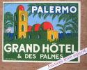 """Label """"Palermo Grand Hôtel & Des Palmes"""" - Vieux Papiers"""