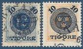 SUEDE - Les 2 Surchargés 10 ö. De 1889 Oblitérés TB - Suède
