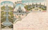 148/19 -  SUPERBE Carte Lithogravée 3 Tableaux Exposition 1897 à TERVUREN - Circulée BRUXELLES 1897 Vers SOISSONS - Tervuren
