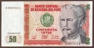 PERU 50 INTIS 26.06.1987  P#131b   UNC    Nicolas De Piérola - Peru