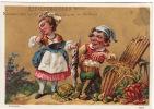 CHROMO Dorée Levacher-Giroux Orléans Hutinet Couple Lapin Légumes Chou Carottes Oeufs Hotte - Trade Cards