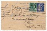 CL 65c Paix Oblitérée Avec 25c Mercure En Complément - Biglietto Postale