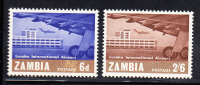 Zambia MNH Scott #32-#33 Opening Of Lusaka International Airport - Zambie (1965-...)
