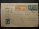 LETTRE RECOMMANDEE  AVEC MOUCHON SURCHARGES  D'ALEXANDRIE EGYPTE 1922 => USA  COVER