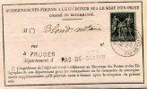 N°89 Sage Tarif à 10c Formulaire 103 Renseignement Objet Chargé Ou Recommandé Cad Fruges Pas De Calais Type 18  1888 - Postmark Collection (Covers)