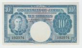 Jamaica 10 Shillings Banknote 1940 XF+ KGVI VERY RARE P 38b  38 B - Jamaique