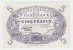 MARTINIQUE 5 FRANCS 1901 (1934-45) AVF (missing Corner) P 6 - Caraïbes Orientales