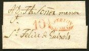 :Pli De BARCELONA De 18?? Avec Marque Rouge BARCELONA CATALUNA Pour Sant FELIU DE GUIXOL - ...-1850 Vorphilatelie