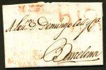 :Pli De MOTRIL De 1821 Avec Marque Rouge %.MOTRl ANDALUCIA VAXA + B12 Pour BARCELONA - ...-1850 Vorphilatelie