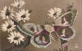 Papillon Et Fleurs - (avec Portraits De Femmes Sur Les Ailes) TTB  écrite - Butterflies