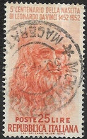 ITALY 1952 500th Birth Anniv Of Leonardo Da Vinci. -  25l Leonardo Da Vinci. FU - 1946-60: Gebraucht
